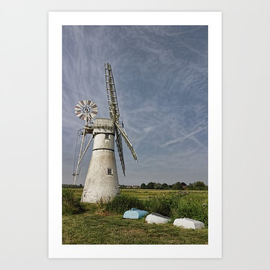 Thurne Dyke Mill and Boats Art Print