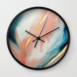 Celestial [3]: a minimal abstract mixed-media piece in Pink, Blue, and gold by Alyssa Hamilton Art Wall Clock