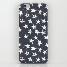 Linocut Stars - Navy & White iPhone & iPod Skin