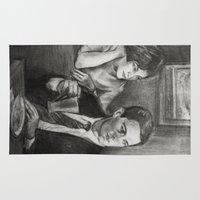 dale cooper Area & Throw Rugs featuring TWIN PEAKS - COOPER AND AUDREY by William Wong