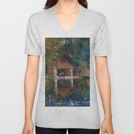 Asai Chu - Washing Place in Grez-sur-Loing Unisex V-Neck