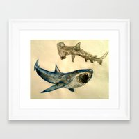 sharks Framed Art Prints featuring Sharks by Jen Hallbrown