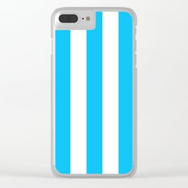 Spiro Disco Ball blue - solid color - white vertical lines pattern Clear iPhone Case