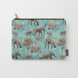 Sweet Elephants in Soft Teal Carry-All Pouch