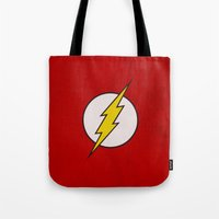 the flash Tote Bags featuring Flash by Some_Designs