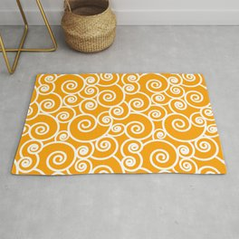 Mustard Gold and White Waves Pattern Rug