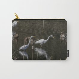 Three Great Egrets Among the Ducks, No. 1 Carry-All Pouch