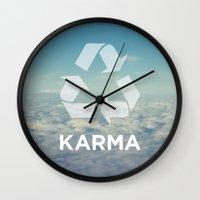 karma Wall Clocks featuring karma by katieswanson.design