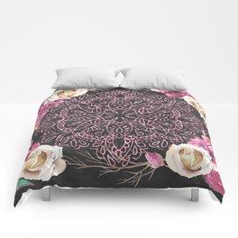 Mandala Night Rose Gold Garden Pink Black Yellow Comforters