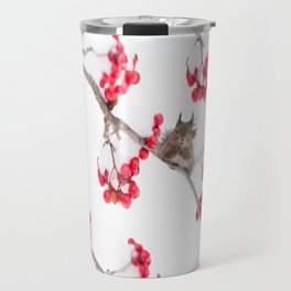 Cute Squirrel With Red Rowan Berries On A White Background #decor #society6 #buyart Travel Mug
