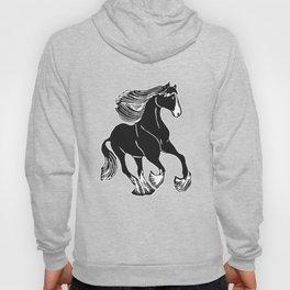 Black and White Shire Horse Art Hoody