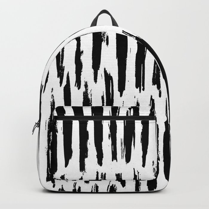 Vertical Dash Black and White Paint Stripes Backpack