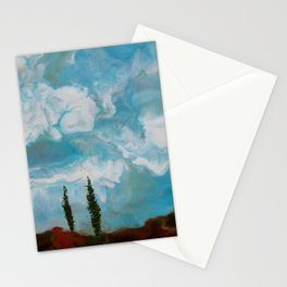 Cypress Trees encaustic wax painting by Seasons Kaz Sparks Stationery Cards
