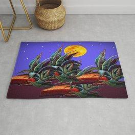 Desert Agaves Full Moon Purple Evening Landscape Rug