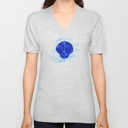 Seashell on coral - watercolors Unisex V-Neck