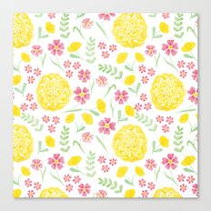 Watercolor floral pattern with doily Canvas Print
