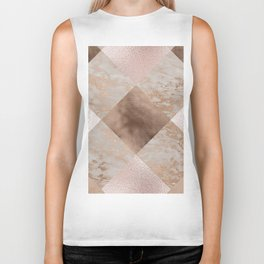 Copper and Blush Rose Gold Marble Gingham Biker Tank