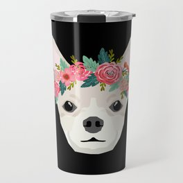 Chihuahua dog breed floral crown chihuahuas lover pure breed gifts Travel Mug