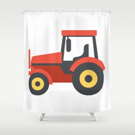 Red Farming Tractor Emoji Shower Curtain