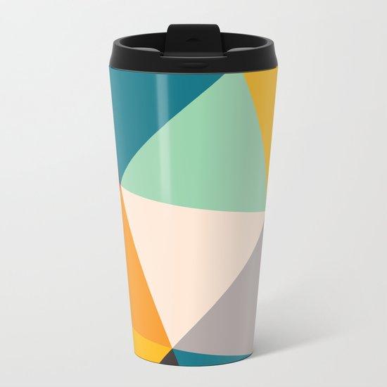 Geometric Triangles Metal Travel Mug