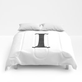 Letter I Initial Monogram Black and White Comforters