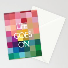 Life Goes On - Colorful Pixel Color Blocks Stationery Cards