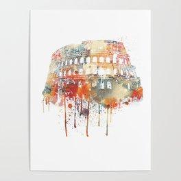 Watercolor Rome Colosseum Poster