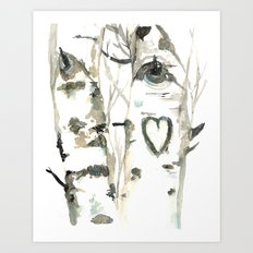 Winter Romance Birch Forest  Art Print