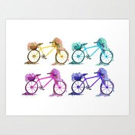 Flower Bicycles Art Print
