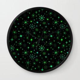 Atomic Starry Night in Neon Green Glow + Black Wall Clock