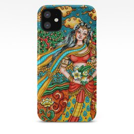 Kerala Mural Style Indian Goddess, Woman, PRINTABLE Wall Art, Indian Style Home Decor iPhone Case