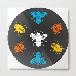 Bugs Composite - Papercut Patterns Metal Print