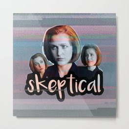 Skeptical Skully Metal Print