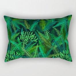 Fern Forest in Emerald Green Rectangular Pillow