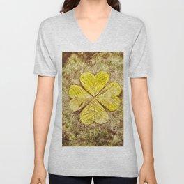 Lucky Four-Leaf Clover  Unisex V-Neck