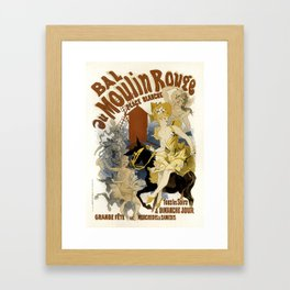 Vintage French Advertising Place Blanche French Showgirls Framed Art Print