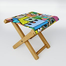 Color Block Collage Folding Stool