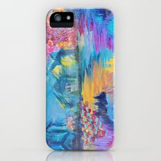 SOMEWHERE IN DREAMLAND - Simply Lovely Dream Village Blue Relax Christmas Abstract Serene Painting Slim Case iPhone (5, 5s)