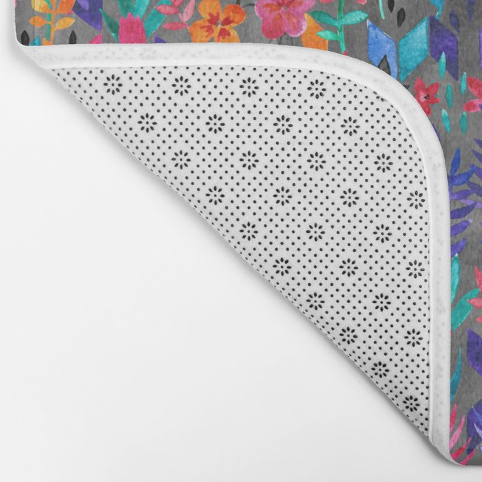 Popping Color Painted Floral on Grey Bath Mat