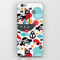Cute kids pirate ship and parrot illustration pattern iPhone & iPod Skin