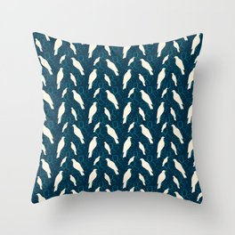Kereru and magnolia - navy  Throw Pillow