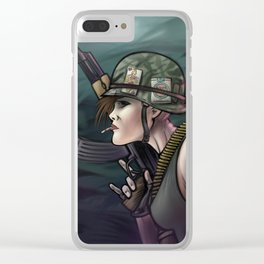 AK47 Soldier Girl Clear iPhone Case
