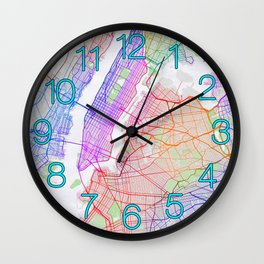 New York City Map of the United States - Colorful Wall Clock