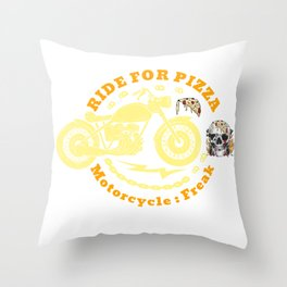 i ride for pizza  motorcycle  Throw Pillow