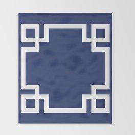 Navy Blue Greek Key Throw Blanket