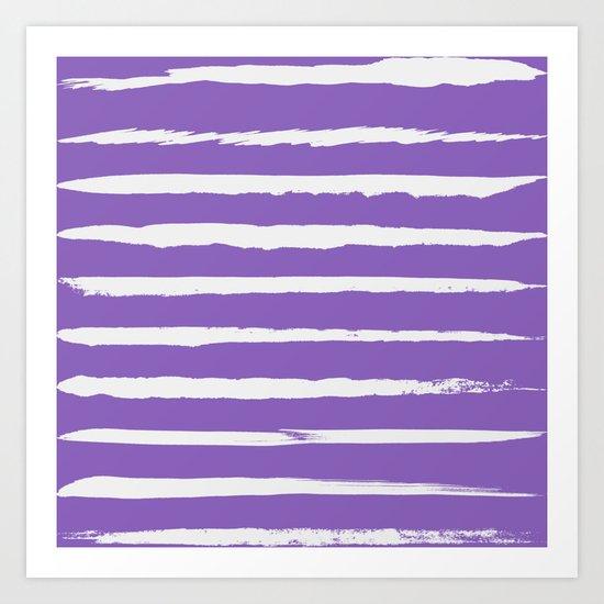 Irregular Hand Painted Stripes Purple Art Print