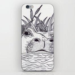 Black and White Hippo iPhone Skin