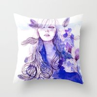 nausicaa Throw Pillows featuring Nausicaa by Sarah Bochaton