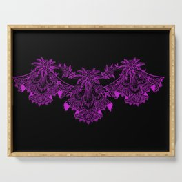 Vintage Lace Hankies Black and Dazzling Violet Serving Tray