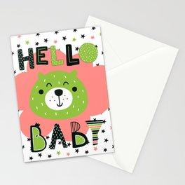 Hello Baby nursery boy and girl Stationery Cards